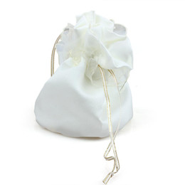 Wholesale Girls Dolly - Wholesale- Bride Satin Handbag Bridesmaid Wedding Flower Girl Organza Dolly Bag Ivory White Wedding Decoration