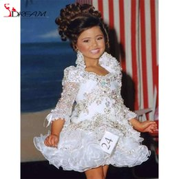 Wholesale Red Glitz Pageant Dresses - Real Little Girl Gowns 3 4 Sleeve Beads Crystal Rhinestone Ruffles Short Flower Girl Dress 2016 White Glitz Pageant Dress