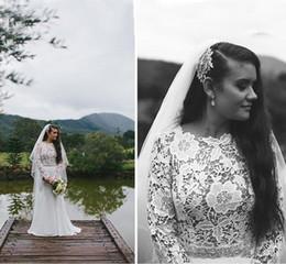 Argentina Vestidos de novia de estilo occidental de moda más del tamaño de Eiffelbride con fajas brillantes y vestidos de novia de manga larga de encaje transparente escarpado Suministro