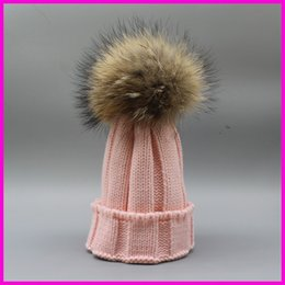 Wholesale Grey Fur Raccoon - Winter Kids Fur Pom pom Hats Baby Knitted Beanie 100% Real Raccoon Fur Cap For Boy Girl