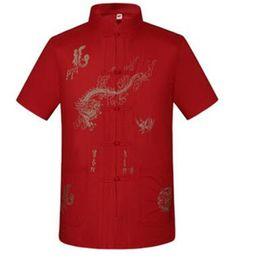 Wholesale Dragon Age - Wholesale-Summer 2016 chemise homme costume middle-aged big yards short-sleeved men shirt embroidered dragon camisa masculina camisa