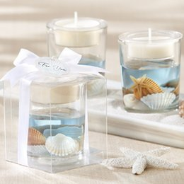 Wholesale Ocean Candles - Free shipping 50 pcs romatic beach wedding candle gift blue Ocean jelly candle holders candle cups in event & party supplies