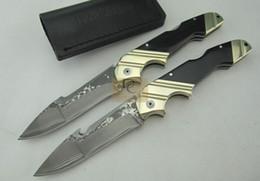 Faca de chifre de damasco on-line-Rambo DK044 grande faca dobrável 100% feito à mão de aço damasco lâmina de bronze + chifre lidar com bainha de couro para a caça camping ferramenta EDC