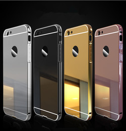 Wholesale Iphone 5s Aluminum Bumper Cases - For iphone 7 case Hybrid 2 in 1 Aluminum metal mirror bumper frame cases with Back clear plate cover for iphone 5 5s se 6 6S Plus 7 7 plus