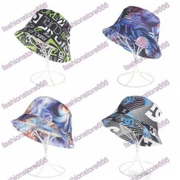 Wholesale girls bucket hats - Bucket Hats Women Sun Hat New Fashion Women Sun Hats Carton Printed Flower Hats Girls Caps 4 Styles Colourful Printing Fisherman Cap