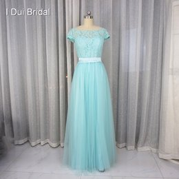 Wholesale Red Pool Water - Pool Blue Bridesmaid Dress A line Short Sleeve Lace Tulle with Belt Maid of Honor Formal Dress