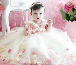 Wholesale Hottest First Communion Dresses - Hot Sale Beaded Girls Pageant Dresses 3D Appliques Toddler Ball Gown Flower Girl Dress Floor Length Tulle First Communion Gowns