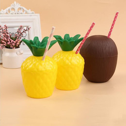 Wholesale Novelty Hand Warmers - Novelty Pineapple Coconut Cup Summer Beach DIY Plastic Cups Beverage Straw Christmas Gift Water Drink Bottle Party Supplies ZA4432
