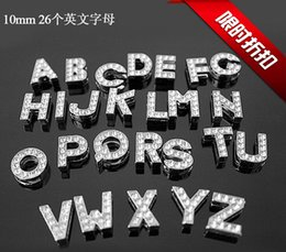 Wholesale Dog Collars Letter Charms - 520Pcs Lot DIY Crystal Slide Letters With Rhinestone Charms For 10mm Pet Dog Collars A-Z Letters DIY Charms