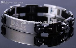 Wholesale Stainless Steel Bangle Rubber - Wholesale-YYBA2006 silver rubber black cross Stainless steel bracelet mens bangle inlay ITALY design valua gift hot new wholesale jewerly