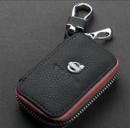 Wholesale Emblem Vw For Keys - Car Emblem Leather Key Cover Case Holder Chain For BMW VW AUDI SKODA MAZDA PEUGEOT KIA TOYOTA VOLVO LEXUS NISSAN FORD HONDA BENZ Accessories