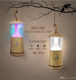 Wholesale Creative Colorful Wood Grain Small Night Light Portable USB Flash Lamp Camping Outdoor LED Light Hanging Light Indoor Touch Table Lamp