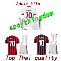 Wholesale Honda Ac - 2017 AC Milan soccer jerseys adult kit + sock 17 18 SUSO AC Milan home soccer jersey kits LAPADULA HONDA BONAVENTURA LOCATELLI mens shirts