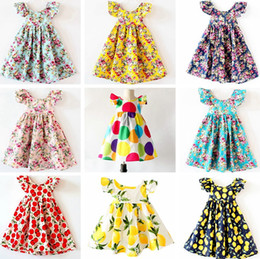 Wholesale Pleated Flowers - INS Cherry lemon Cotton Backless DRESS girls floral beach dress cute baby summer backless halter dress kids vintage flower dress 12colors