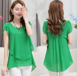 Wholesale 2016 New Fashion Women Hot Summer Casual Ladies Short Sleeve Chiffon T shirt Top Blouse Tank Plus Size