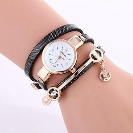 Wholesale Simple Bracelet Leather - 2016 wholesale women diamond crystal leather bracelet watch fashion pendant ladies dress quartz watches simple design wristwatch