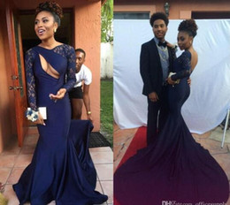 Wholesale Naked Dresses - 2016 Sexy Naked Front Open Back Navy Black Girls Mermaid Prom Dresses with Bateau Neck Sheer Lace Long Sleeves Chapel Train Evening Gowns