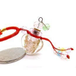 Wholesale Heart Shaped Glass Bottle Pendants - New Arrival Heart Shape Essential Oil Bottle Pendant & Necklace Rope Chain Glass Pendant Necklaces Crystal Jewelry Wholesale free shipping
