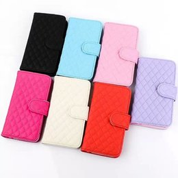 Wholesale Iphone Luxury Sheep - 2016 New Luxury Grid Pattern Sheep Leather Wallet Case with Photo Frame Cover Case For Iphone 7 7plus 6s Samsung S6 S7 edge