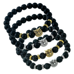 Wholesale Owl Oil - 2018 New Handmade Lava-rock Bead Bracelet Owl Charm Natural Black Lava Stone Bracelets Aromatherapy Essential Oil Diffuser Jewelry A320