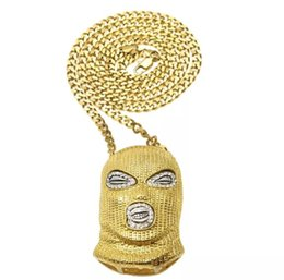 Wholesale Black Mask Necklace - 3 Style Men's Hip Hop Titanium Steel Black Silver Gold Mask Pendant Crystal Chain Necklace Top Seller Preferred Free DHL J13S
