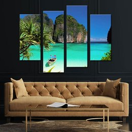 Wholesale Water Mountain Painting - 4 Picture Combination Blue Art Gallery Painting Ko Tao Thailand Small Bay Light Green Sea Water Mountain Print On Canvas