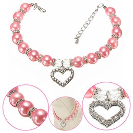 Wholesale Leather Diamond Dog Collars - Cute Luxury Pearl Pet Collar With Peach Heart Diamond Fashion Dog Cat Necklace For Small Teddy 3 Size