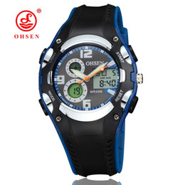 Wholesale Analog Alarm Clocks - OHSEN brand digital quartz LCD kids boys wristwatch 30M waterproof rubber band alarm date fashion blue watches hand clocks