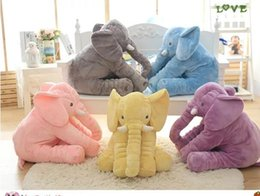 Wholesale Wholesale Baby Elephant Plush - INS Elephant Pillow New Elephant Plush Toys dolls Elephant Baby sleeping pilow 52cm Free shipping D431 1piece