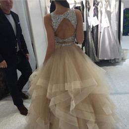 Wholesale yellow pleated skirts - Champagne Ball Gown Prom Dresses Sparkly Sequins Beaded Top Tulle Tiered Skirt Keyhole Back Plus Size Backless Evening Dresses