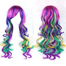 Wholesale Long Rainbow Wigs - Fashion Cosplay Wigs Lolita Rainbow Curly Wigs Multi-colored Party Hair Women Wig