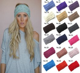 Wholesale Free Crochet Hair Accessories - Fashion Crochet Headband 31 Colors Wool Crochet Headband Knit Hair band Winter Warm headbands Girls Headwrap Hair Accessories DHL Free D492