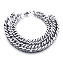 Wholesale Men Curb Silver Bracelet - Wholesale New Classic Stainless Steel Bracelets Curb Cuban Chain Men Bracelet Pulseira Masculina For Christmas Gift