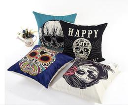 Wholesale Skull Cover Case - 43*43cm Halloween Fashion Skull Pattern Pollow Cases Cotton Linen Throw Pillow Cover Home Sofa Halloween Decorative Pillowcase