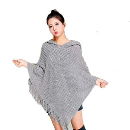 Wholesale Red Hooded Poncho - Tassel Knitted Hooded Poncho For Women 2017 Solid Hollow Out Shawls Scarves Wraps Female Loose Winter Hoodies Scarf