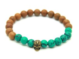 Wholesale Antique Bronze Skull Charm - New Design Jewelry Wholesale 8mm Wood Grain Stone Turquoise Beads Antique Bronze Skull Bracelets,Summer Bracelets Gift