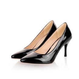 Wholesale Spring Women 43 Shoes - Pumps shoes woman Patent Leather 31 32 33 40 41 42 43 44 45 high heel 8CM EUR Size 30-46