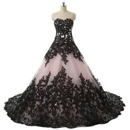 Schwarzes erröten hochzeitskleid online-Errötende rosa schwarze gotische Ballkleid-Brautkleider Schatz-Spitze Appliques-Weinlese-Brautkleid-nicht weiße Brautkleider bunt