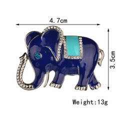 Wholesale Elephant Brooch Gold - Wholesale- Terreau Kathy 2017 New Silver Plated Elephant Brooch Pins Rhinestone Brooches For Women Jewelry Fashion Suit Accessories