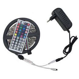 Wholesale Controller Rgb 44 - 5050 RGB Led Strip 5M 60Led M DC 12V 3A Led String Strip Bar Neon Bombillas Led Lamp +44 keys mini Remote Controller