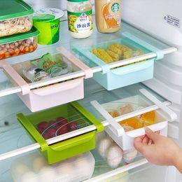 Wholesale Pink Shelves - 4 Pcs lot Plastic Kitchen Refrigerator Storage Rack Fridge Freezer Shelf Holder Pull-out Drawer Organiser Space saver