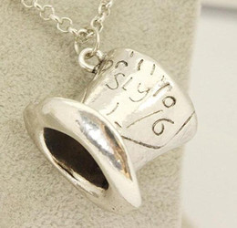 Wholesale Alice Wonderland Wedding - Alice in Wonderland necklace hat statement alloy Lettering hat Topper charm Pendants Movie jewelry unisex statement