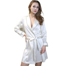 Wholesale Ladies Nightwear Hot - Wholesale- New arrival women's sexy bathrobes satin silk lace bridesmaid robes lingerie for adult ladies nightwear plus size M L XL hot