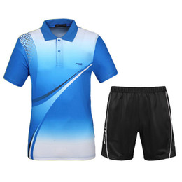 Wholesale Table Tennis Suit - Wholesale-Men Tennis Shirts With Shorts 2016 New Sports Series Wicking Breathable Clothing Men's Badminton Table Tennis Suit
