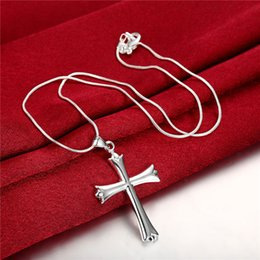 Wholesale Silver Cross Necklace Male - Brand new Smooth cross Pendant Necklace male sterling silver necklace STSN290,hot sale fashion 925 silver necklace factory direct sale