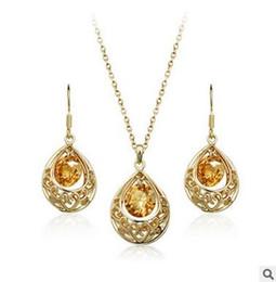 Classic Retro Drop Drop Zircon chapado en oro y plata plateó el conjunto de joyas Collar y pendientes de cristal austriaco desde fabricantes
