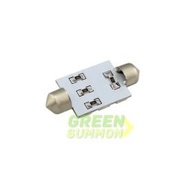 Tronc rouge en Ligne-Les ampoules de 41mm 9-SMD 5050 LED chauffent le coffre de carte de dôme de feston blanc chaud a mené l'ampoule