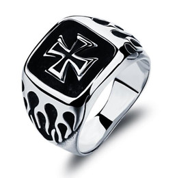 Wholesale Big Stone Ring Designs - 16mm Big Surface Man Party Ring Classical Cross Design Stainless Steel Men's Jewelry Bands Best Gift GJ469