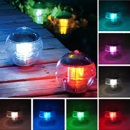 Wholesale Color Changing Solar Lights Outdoor - New Waterproof Pool Solar Power RGB LED Floating Light Lamp 2V 60mA Outdoor Garden Pond Landscape Color Changing solar pool garden Lights