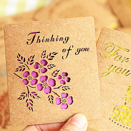 Wholesale Wholesale Greeting Card Envelopes - Fashion 15pcs lot New Creative Delicate Hollow Out Kraft Paper Birthday Greeting Card Elegant Envelope Lovely Gift Card